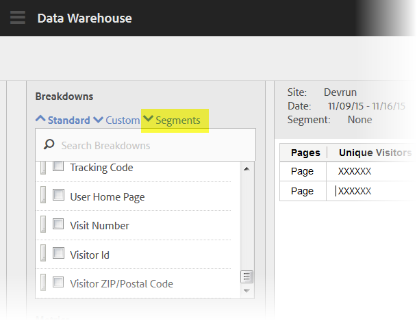 Adobe Analytics November Release - Data Warehouse updates
